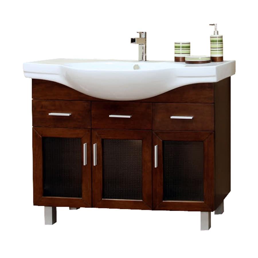 Bellaterra Home Medium Walnut 39.8-in Integral Single Sink Birch Bathroom Vanity with Ceramic Top