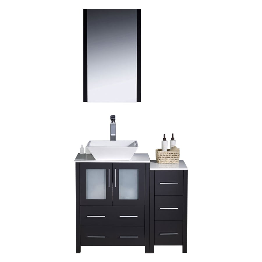 Fresca Torino Espresso 36-in Vessel Single Sink Bathroom Vanity with Ceramic Top (Faucet and Mirror Included)