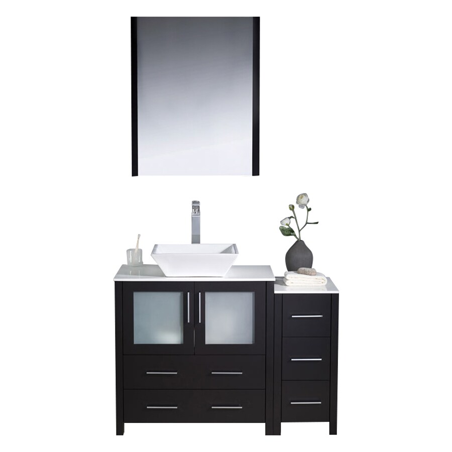 Fresca Torino Espresso (Common: 42-in x 18-in) Vessel Single Sink Bathroom Vanity with Ceramic Top (Faucet and Mirror Included) (Actual: 42-in x 18.13-in)