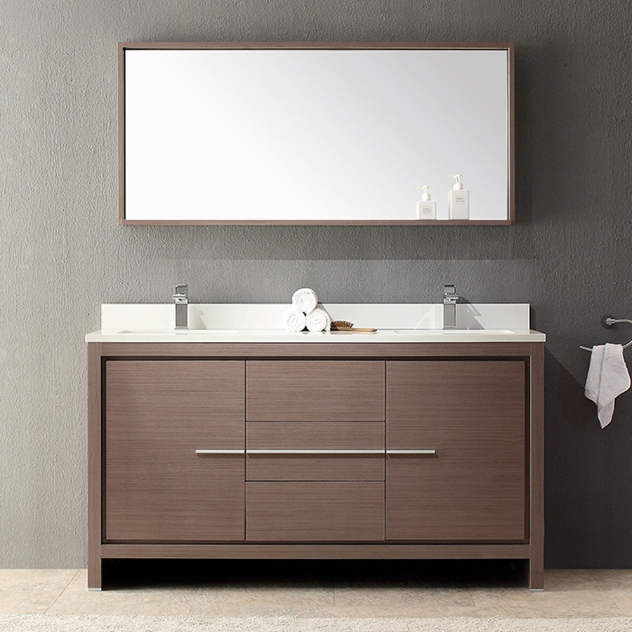 Shop fresca trieste gray oak undermount double sink for Bathroom quartz vanity tops