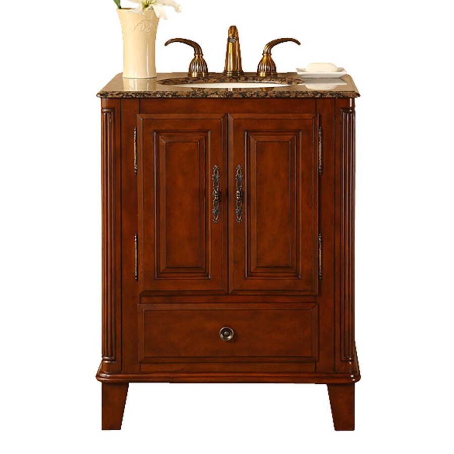 Silkroad Exclusive Devon Special Walnut Undermount Single Sink Bathroom  Vanity With Granite Top (Common: