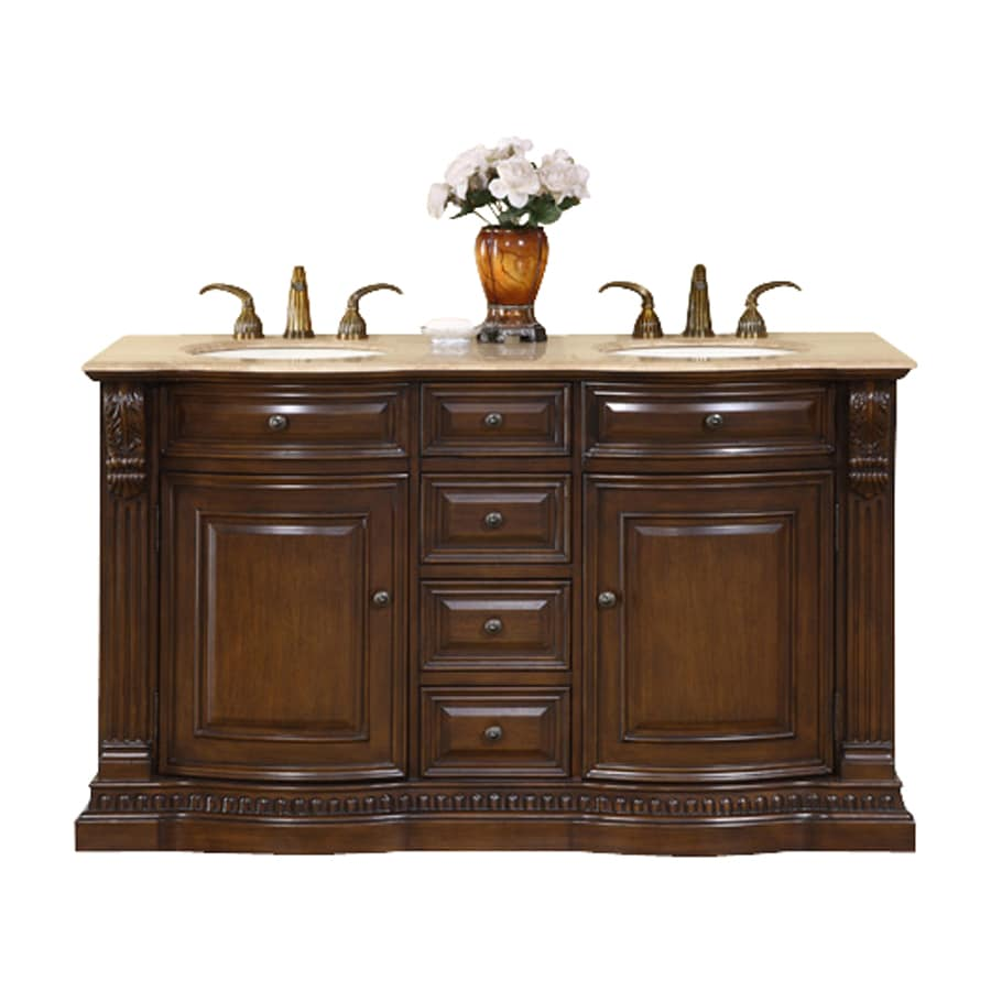 Silkroad Exclusive Samantha American Walnut (Common: 60-in x 22-in) Undermount Double Sink Bathroom Vanity with Travertine Top (Actual: 60-in x 22-in)