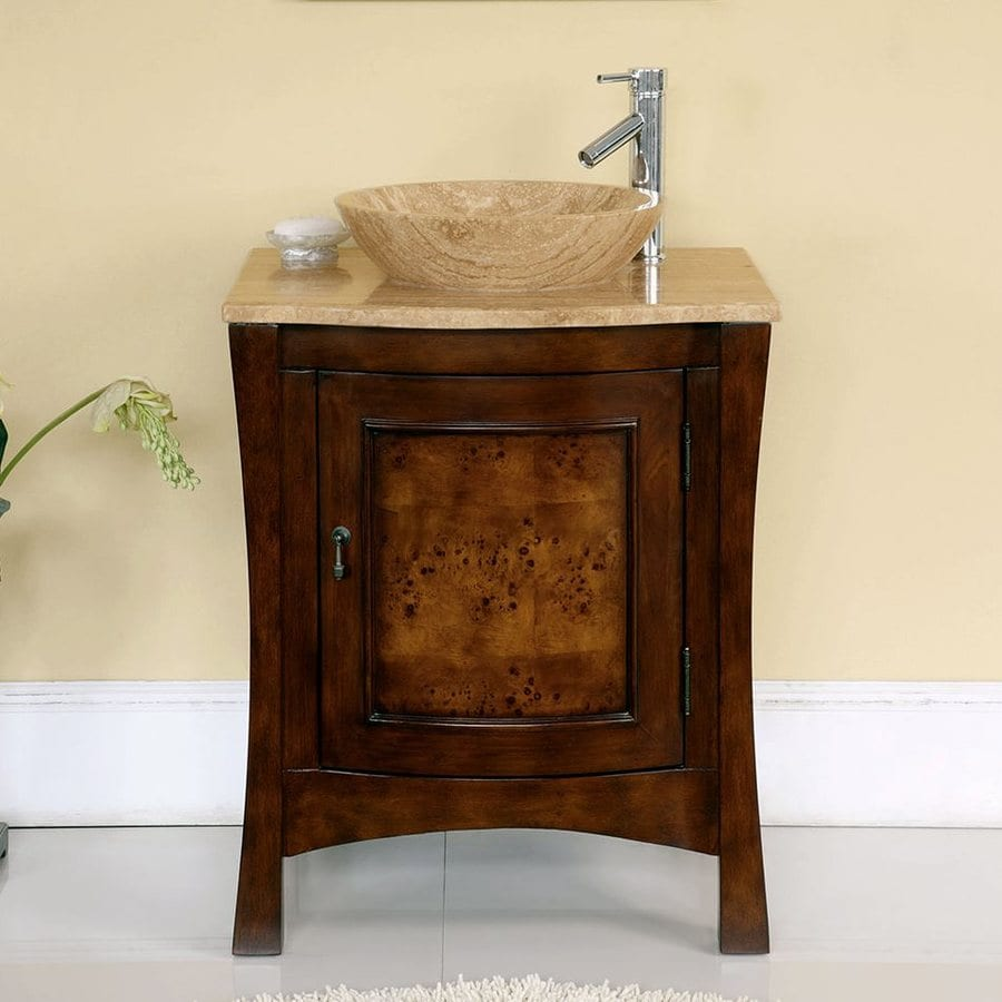 ... in Red Chestnut Vessel Single Sink Bathroom Vanity with Travertine Top