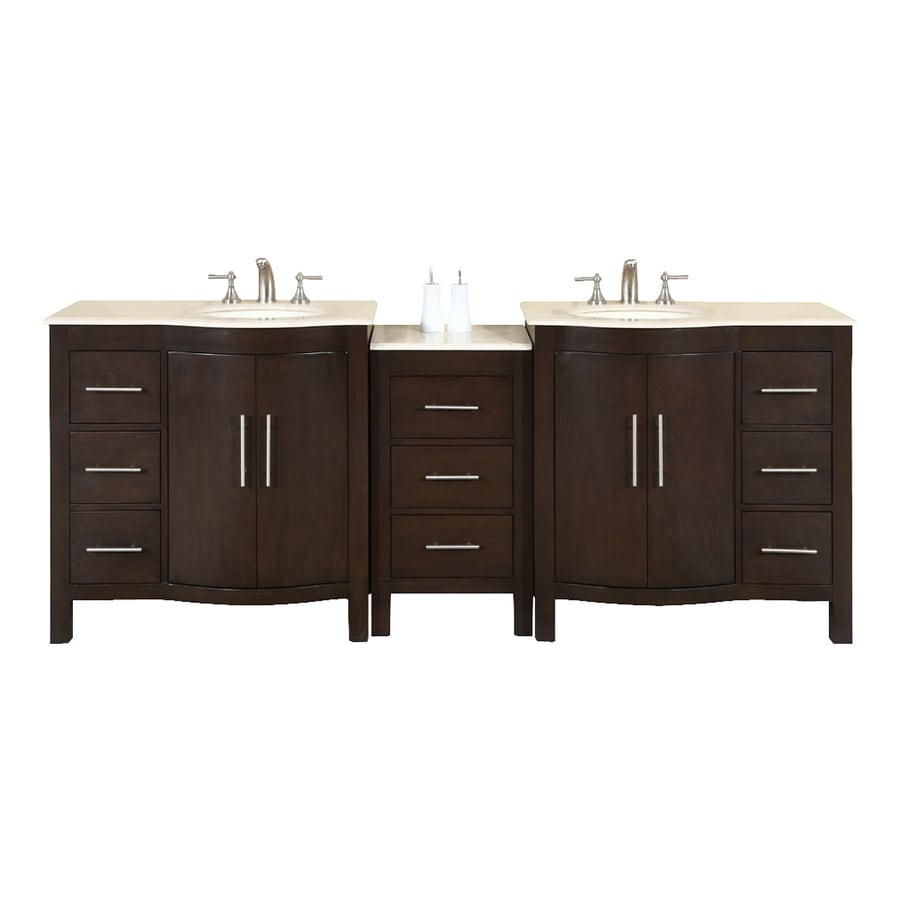 Silkroad Exclusive Kimberly Dark Walnut Undermount Double Sink Bathroom Vanity with Natural Marble Top (Common: 90-in x 22-in; Actual: 89-in x 22-in)