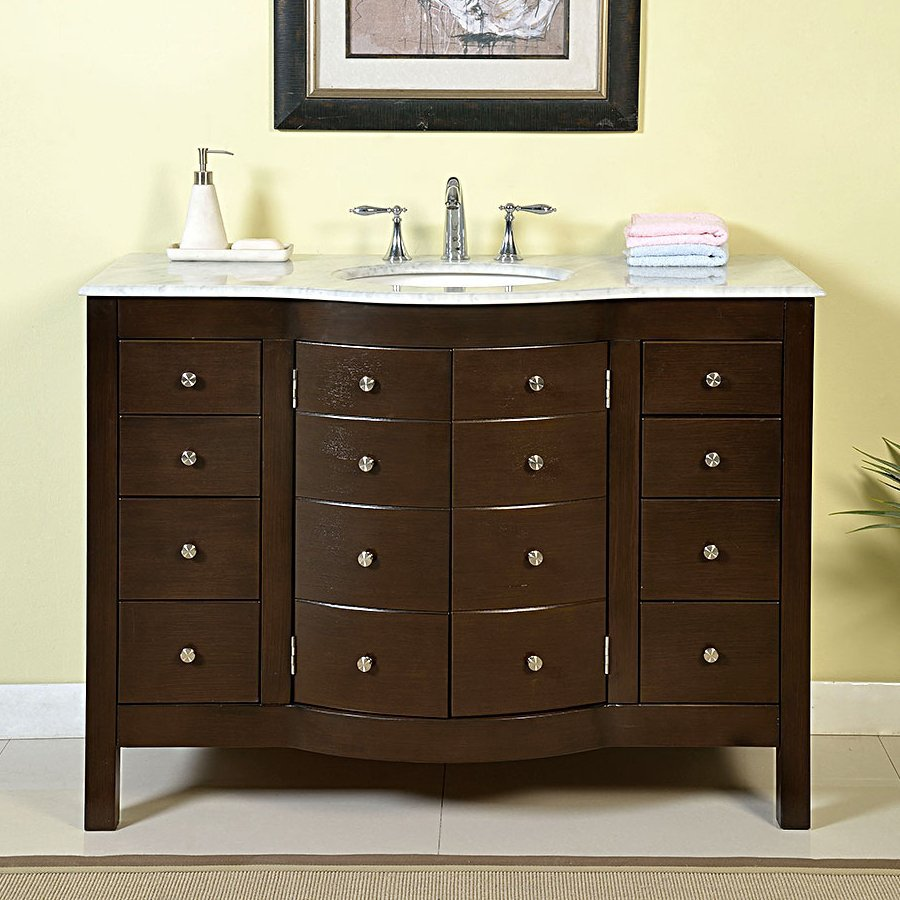 Silkroad Exclusive Prima Dark Walnut (Common: 48-in x 22-in) Undermount Single Sink Bathroom Vanity with Natural Marble Top (Actual: 48-in x 22-in)