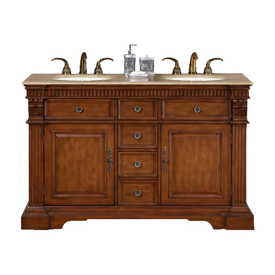 Silkroad exclusive isabella cherry double sink vanity with travertine top common 55 in x 22 in for 55 inch double sink bathroom vanity