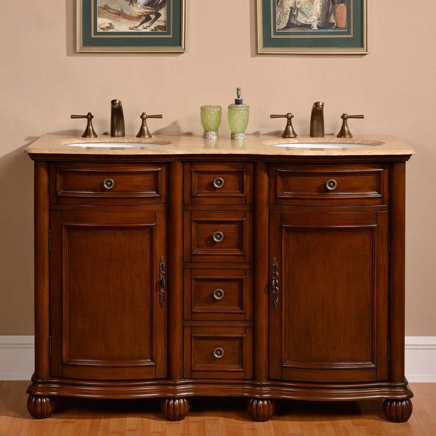 Silkroad Exclusive Floyd Medium Wood Tone Undermount Double Sink Bathroom Vanity with Travertine  Top (Common: 52-in x 22-in; Actual: 52-in x 22-in)