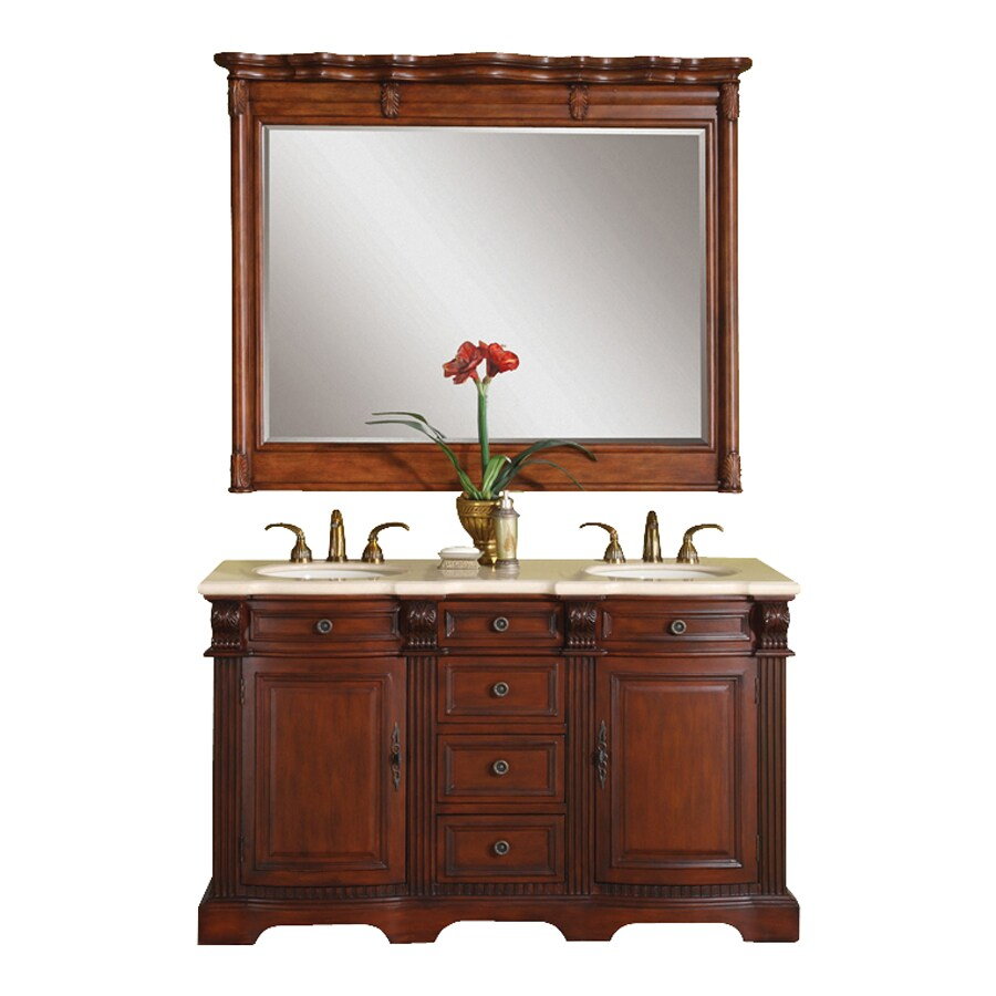 Silkroad Exclusive Olivia Brazilian Rosewood 58-in Undermount Double Sink Bathroom Vanity with Natural Marble Top