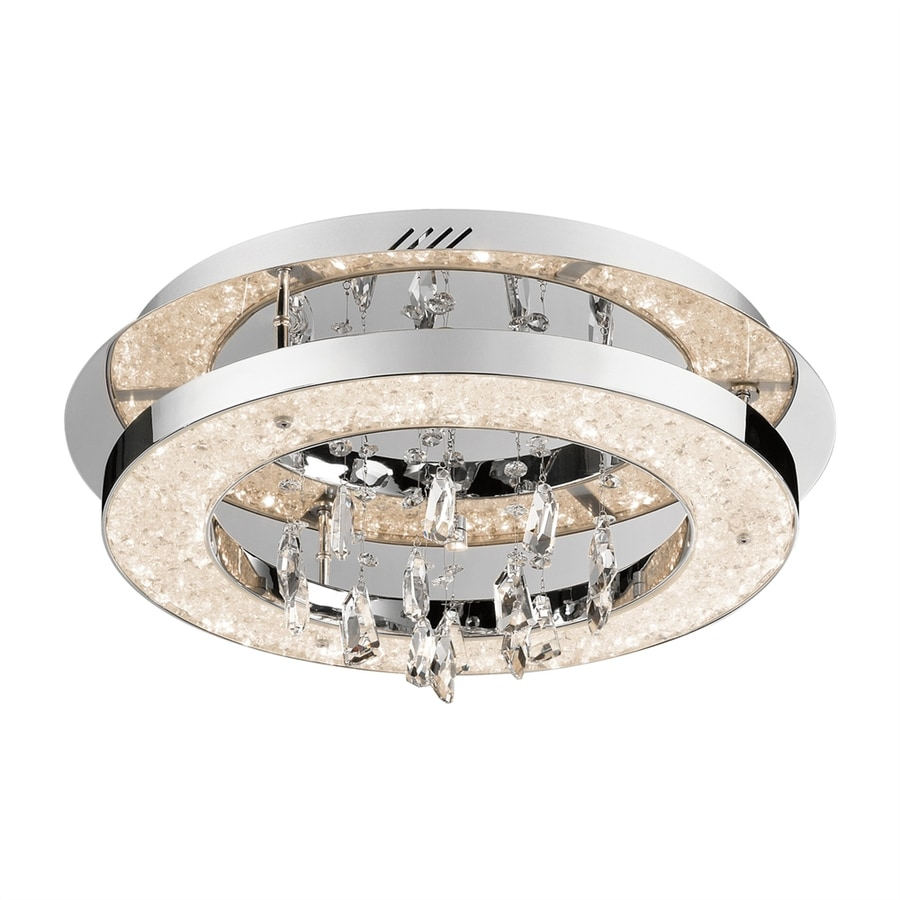 Elan Crushed Ice 19.75-in W Chrome Crystal Accent LED Flush Mount Light