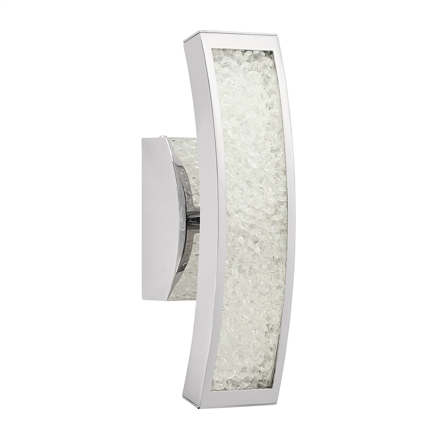 Elan Crushed Ice 1-Light 13.5-in Chrome Rectangle LED Vanity Light