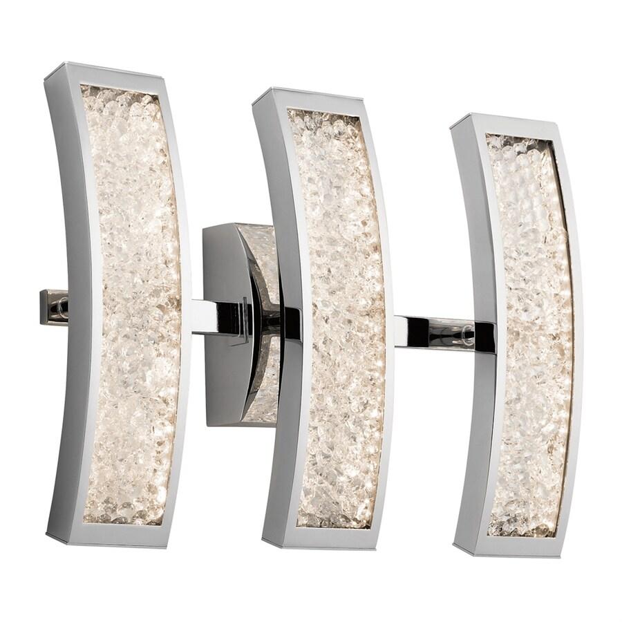 Elan Crushed Ice 3-Light 13.5-in Chrome Rectangle LED Vanity Light