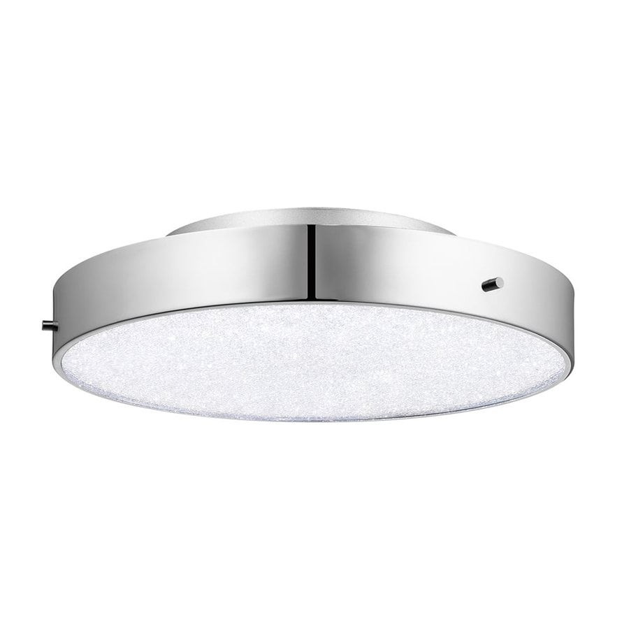 Elan Crystal Moon 15.75-in W Chrome Integrated LED Ceiling Flush Mount Light