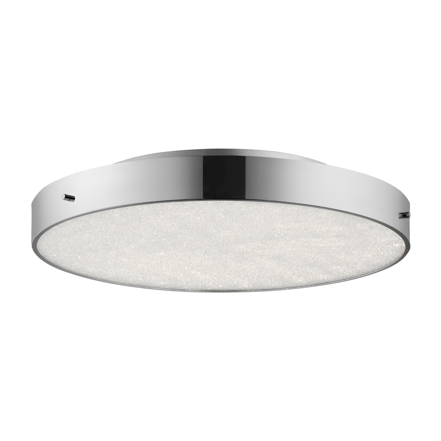 Elan Crystal Moon 19.75-in W Chrome LED Flush Mount Light