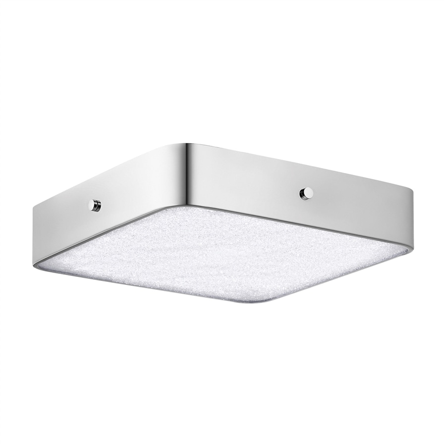 Elan Crystal Moon 15.75-in W Chrome LED Flush Mount Light