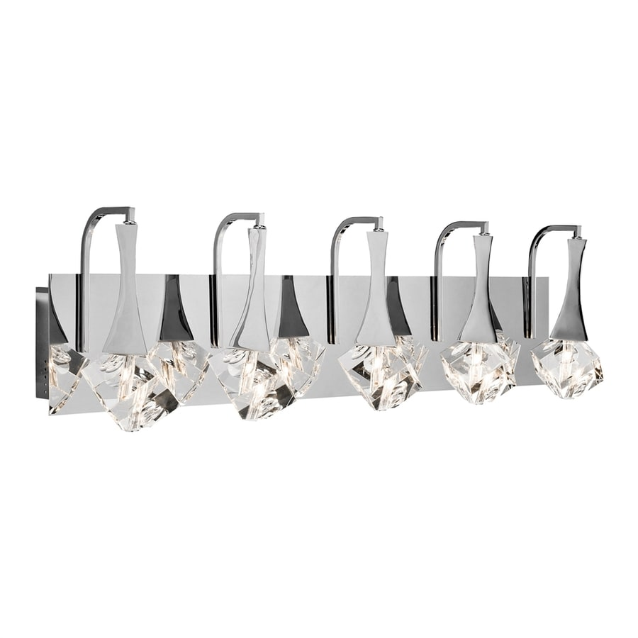 Teardrop Glass Vanity Light : Shop Elan Rockne 5-Light 9.25-in Chrome Teardrop LED Vanity Light at Lowes.com