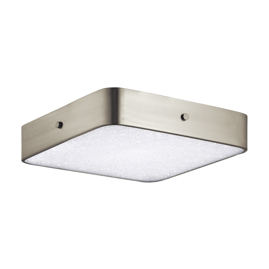 Elan Crystal Moon 15.75-in W Brushed Nickel LED Flush Mount Light