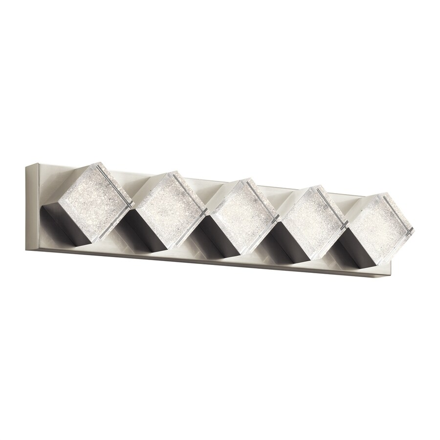 Elan Gorve 5-Light 5.5-in Brushed Nickel Square Integrated LED Vanity Light