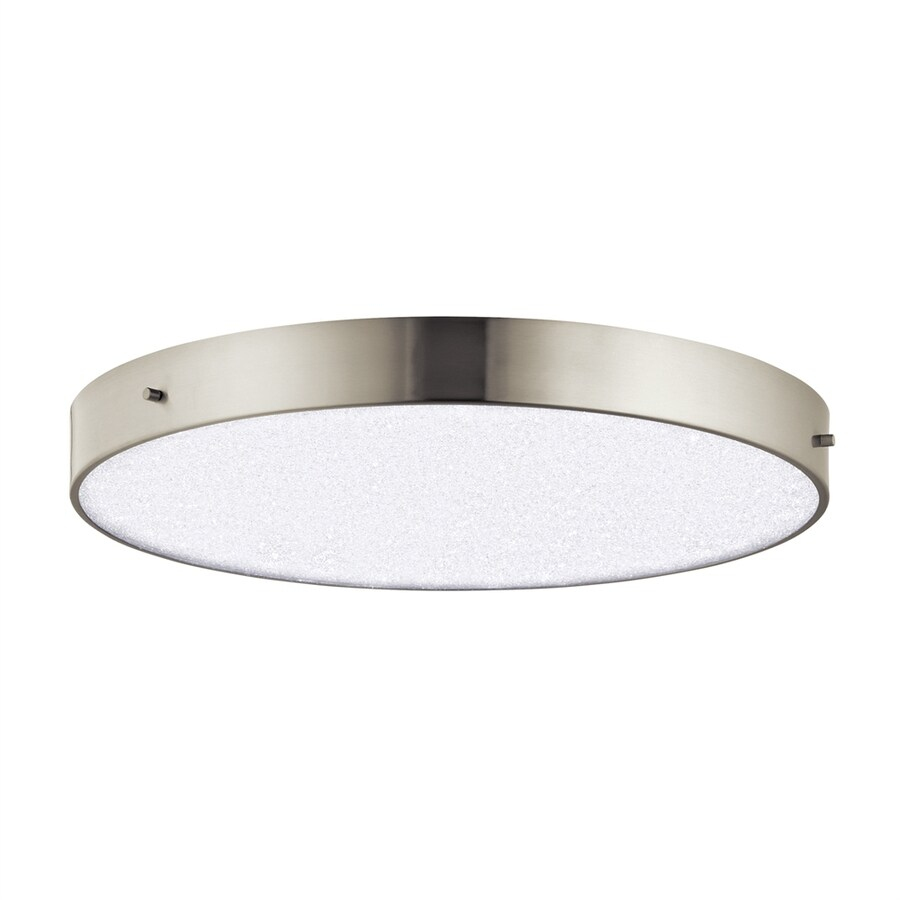 Elan Crystal Moon 19.75-in W Brushed Nickel Integrated LED Ceiling Flush Mount Light