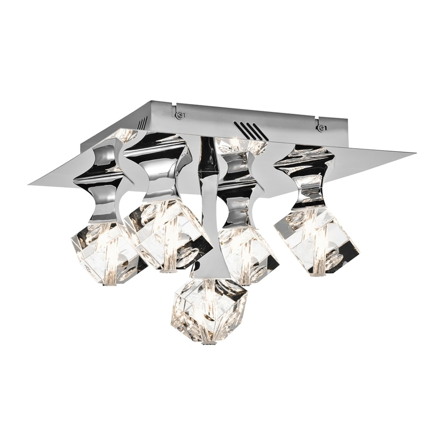 Elan Rockne 14.25-in W Chrome Flush Mount Light
