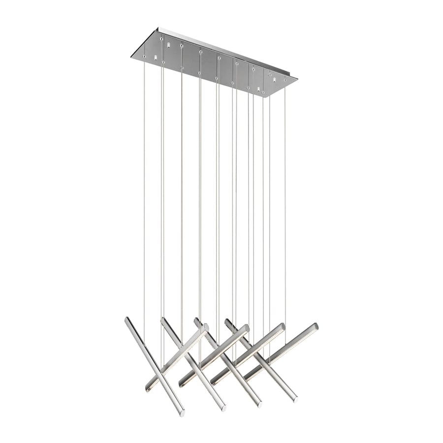 Elan Railways 28.35-in W 8-Light Chrome Integrated LED Kitchen Island Light with Clear Shade