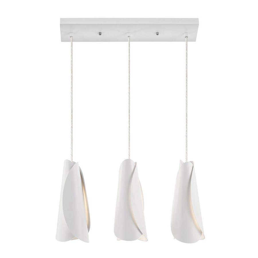 Elan Tisza 4.5-in W 3-Light White Kitchen Island Light with Frosted Shade