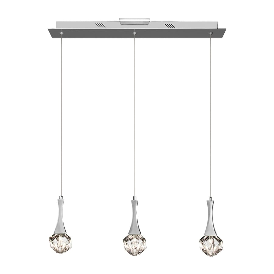 Elan Rockne 4.25-in W 3-Light Chrome Crystal Accent Kitchen Island Light with Crystal Shade