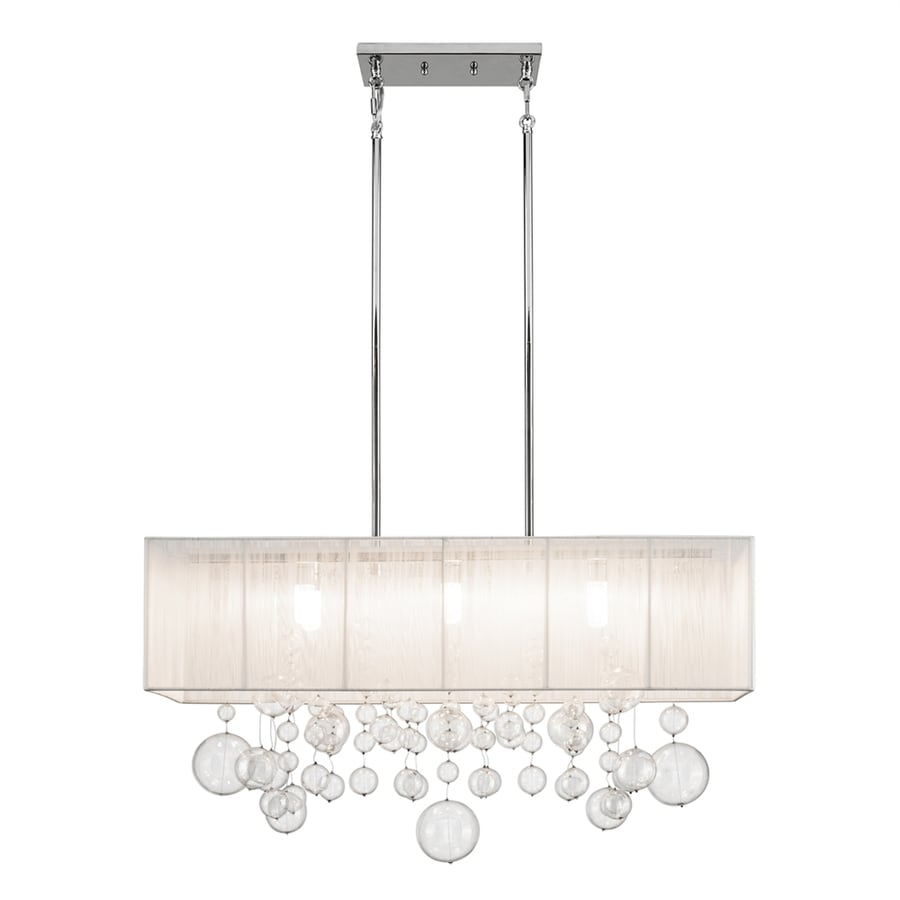 Elan Imbuia 11-in W 6-Light Chrome Kitchen Island Light with Fabric Shade