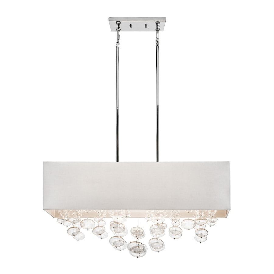 Elan Piatt 11-in W 6-Light Chrome Kitchen Island Light with Fabric Shade