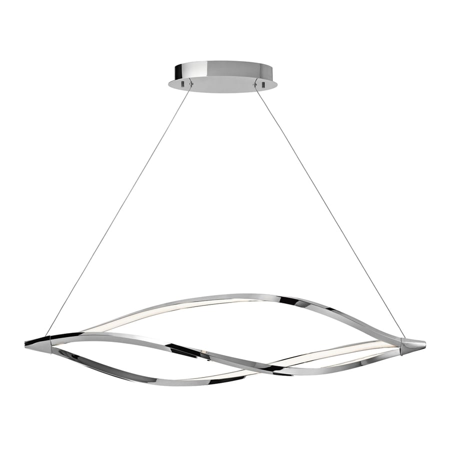Elan Meridian 14.25-in W 1-Light Chrome Integrated LED Kitchen Island Light with Frosted Shade