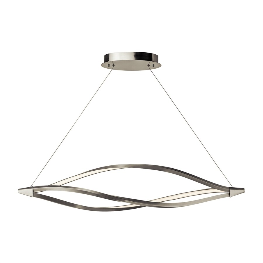 Elan Meridian 14.25-in W 1-Light Brushed Nickel Integrated LED Kitchen Island Light with Frosted Shade