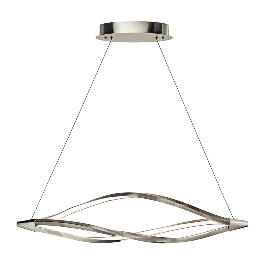 Elan Meridian 11-in W 1-Light Brushed Nickel Integrated LED Kitchen Island Light with Frosted Shade