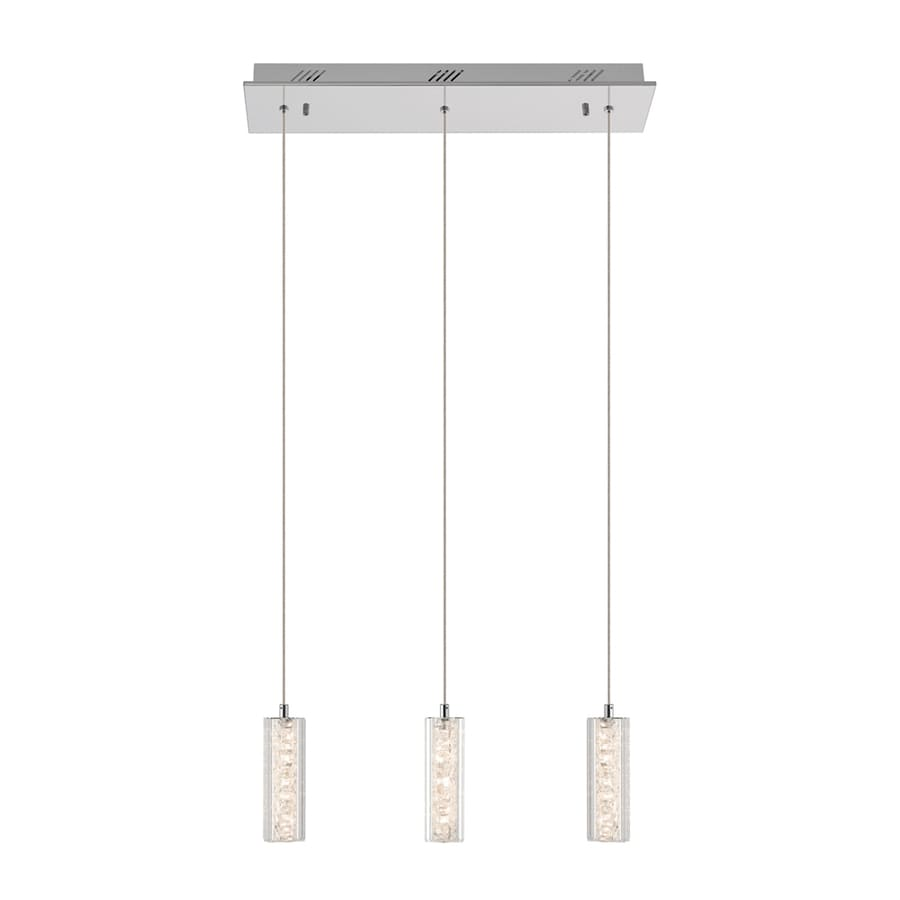 Elan Neruda 2.25-in W 3-Light Chrome Integrated LED Kitchen Island Light with Clear Shade