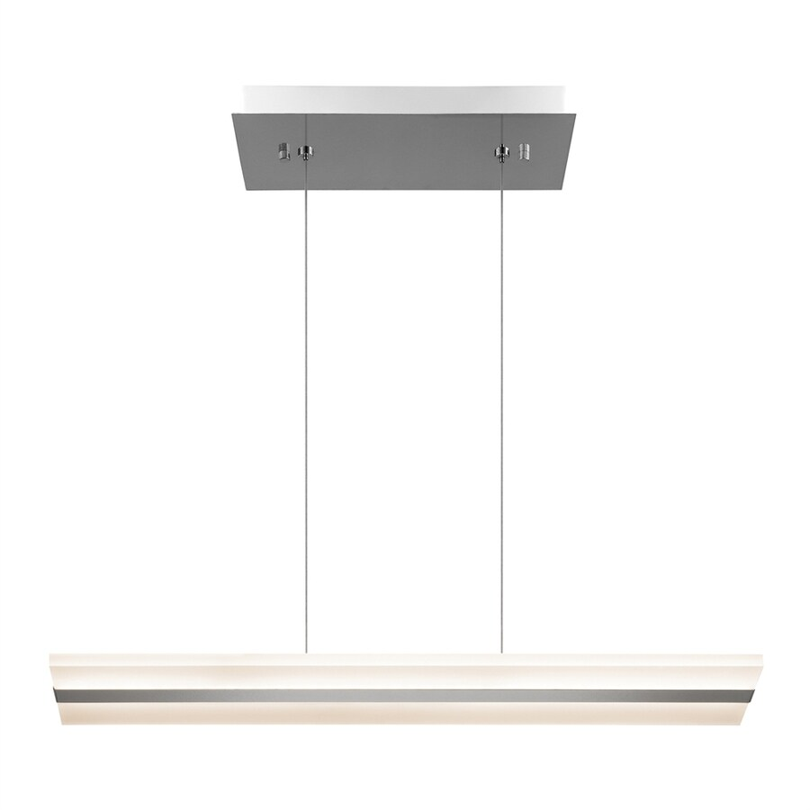 Elan Colson 7-in W 2-Light Chrome Integrated LED Kitchen Island Light with Frosted Shade