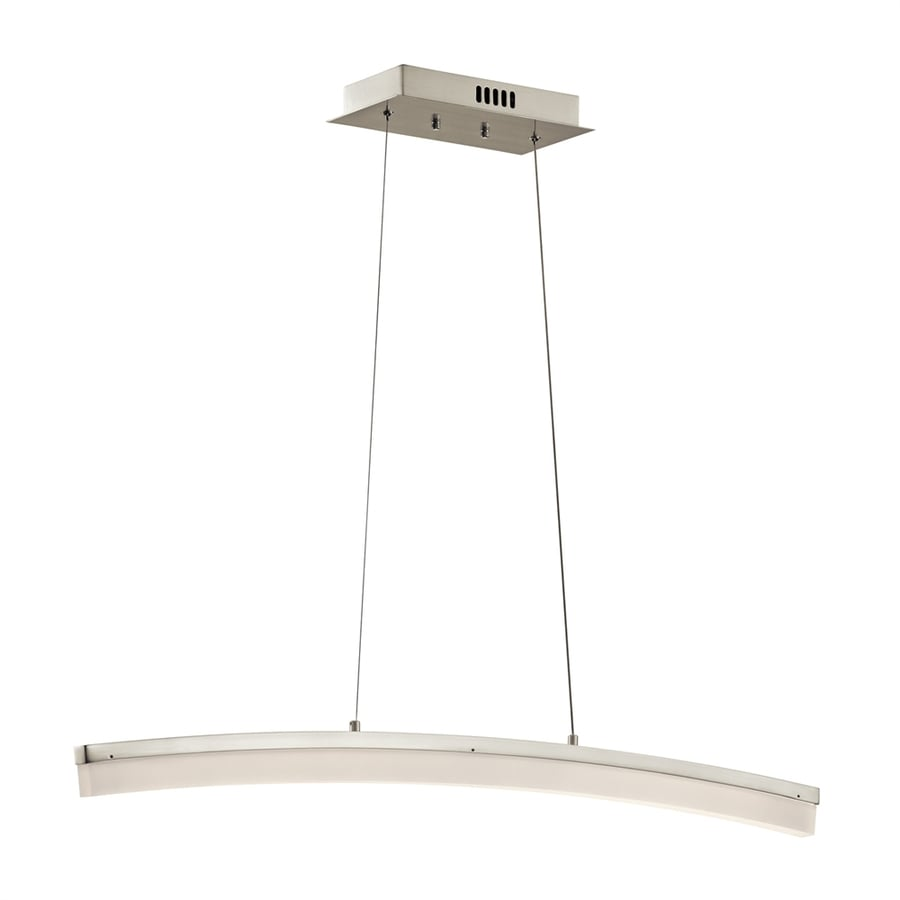 Elan Valencia 9.75-in W-Light Brushed Nickel Integrated LED Kitchen Island Light with White Shade