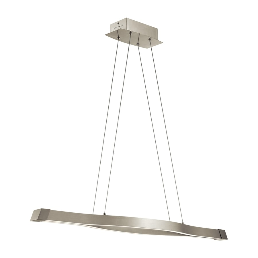 Elan Nya 7.25-in W 2-Light Satin Nickel Integrated LED Kitchen Island Light with Shade