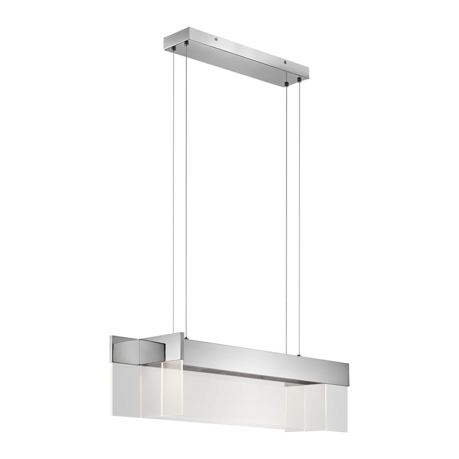 Elan Geo 11.25-in W 4-Light Chrome Integrated LED Kitchen Island Light with Clear Shade