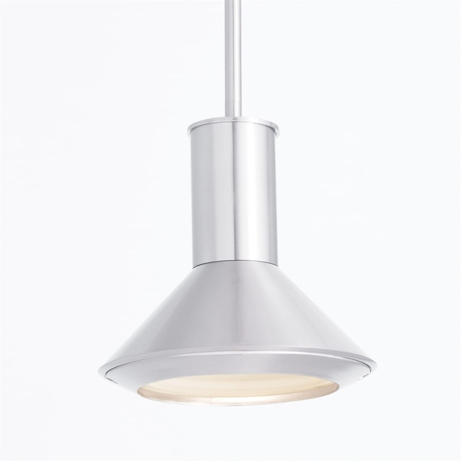 Elan Rovero 7.99-in Brushed Nickel Industrial Mini Etched Glass Cone LED Pendant