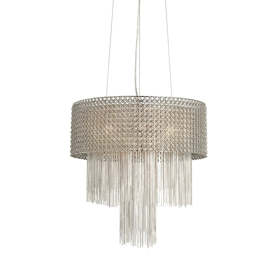 Elan Elauna 19.69-in Brushed Nickel Crystal Hardwired Single Drum Pendant