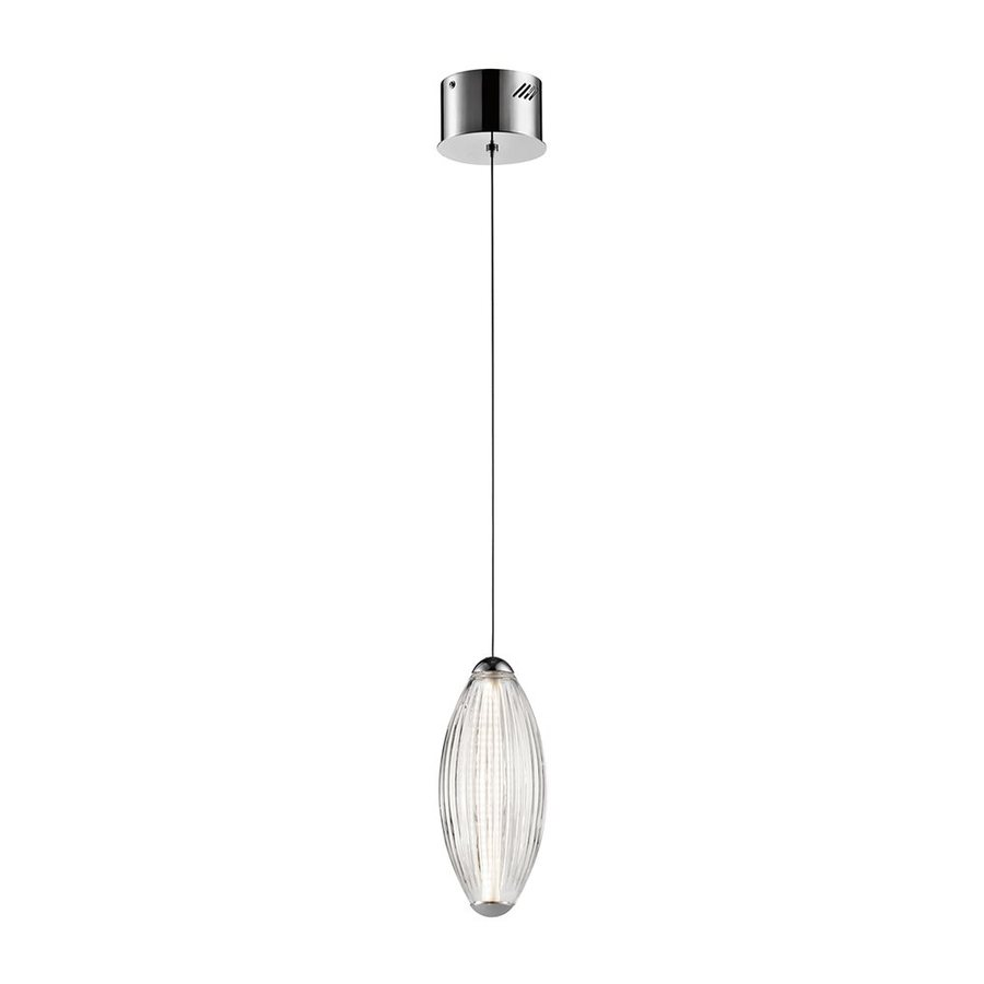 Elan Savello 4.92-in Chrome Mini Ribbed Glass Teardrop LED Pendant