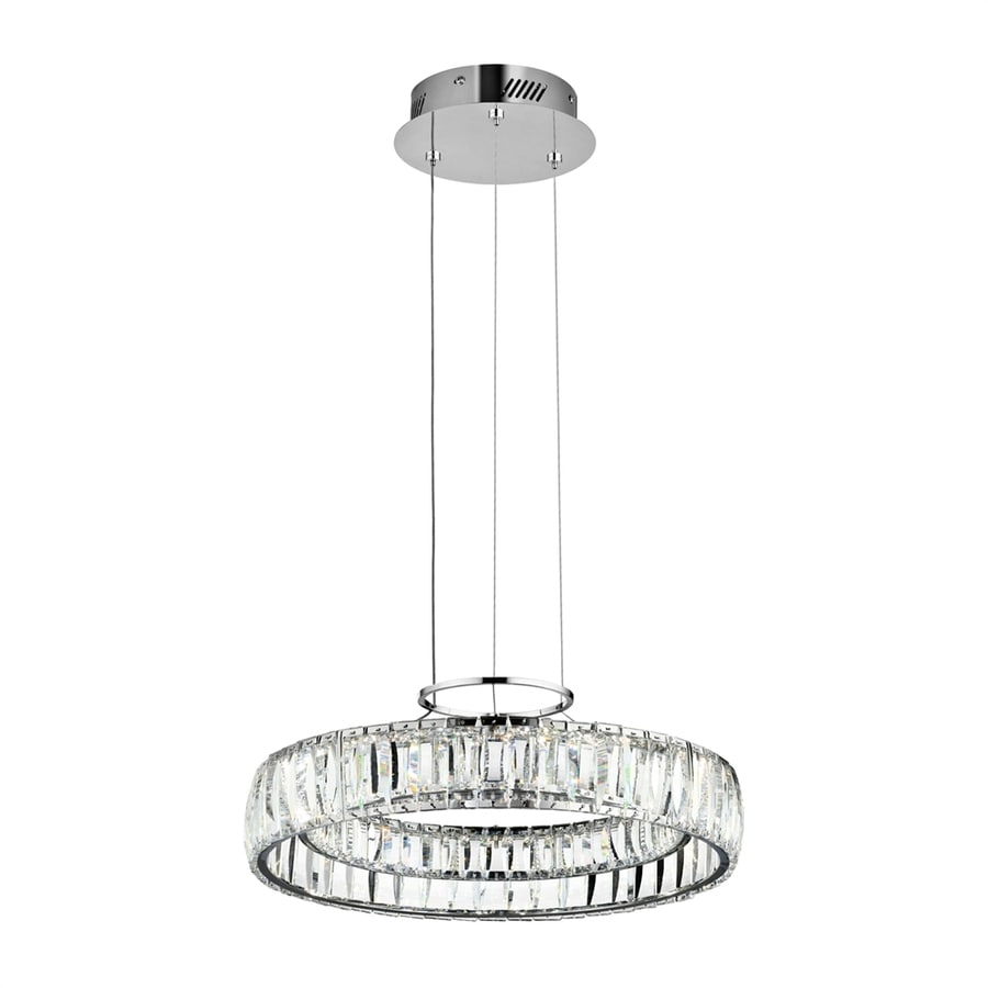 Elan Annette 17.6-in Chrome Crystal Drum LED Pendant