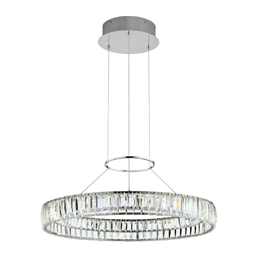 Elan Annette 25.43-in Chrome Crystal Hardwired Single Drum Pendant