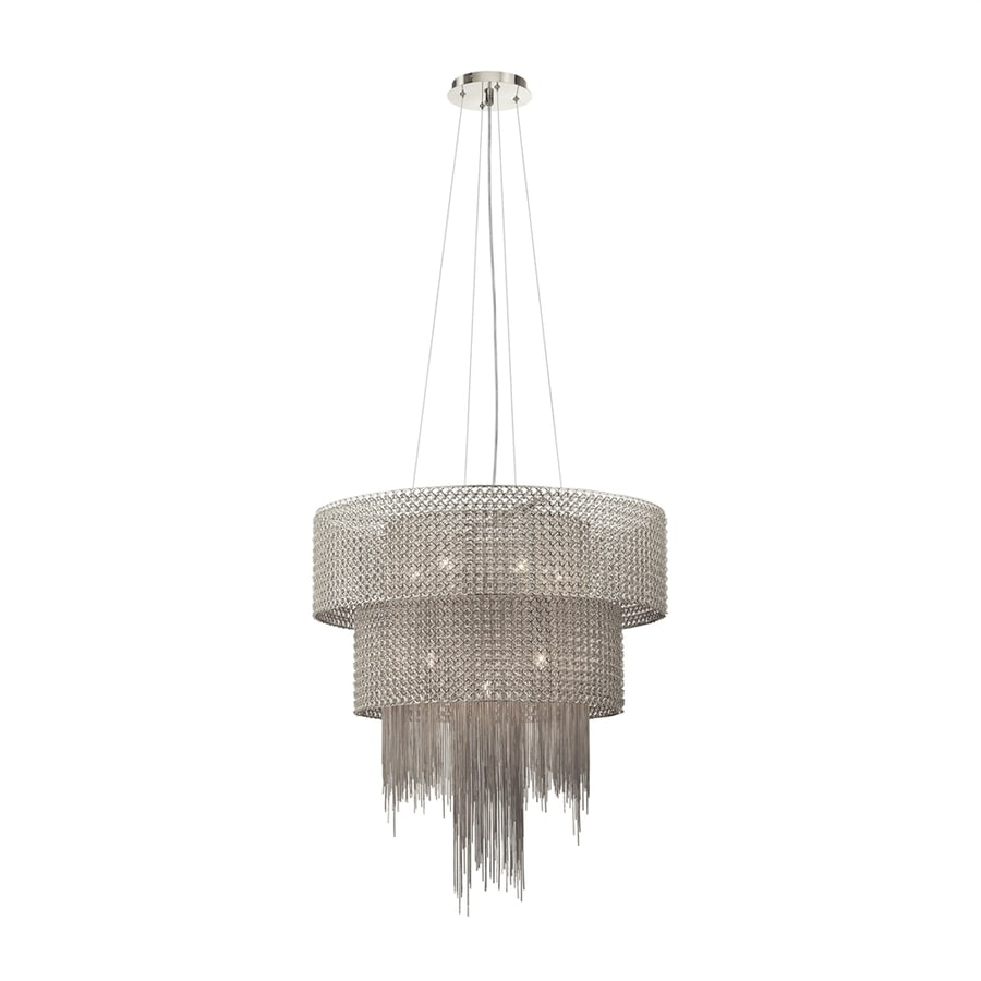 Elan Elauna 25.98-in Brushed Nickel Hardwired Single Drum Pendant