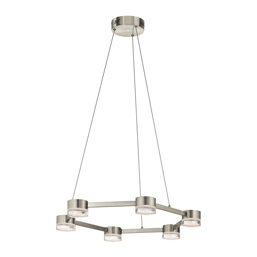 Elan Avenza 25.98-in Brushed Nickel Hardwired Single Clear Glass Geometric Pendant