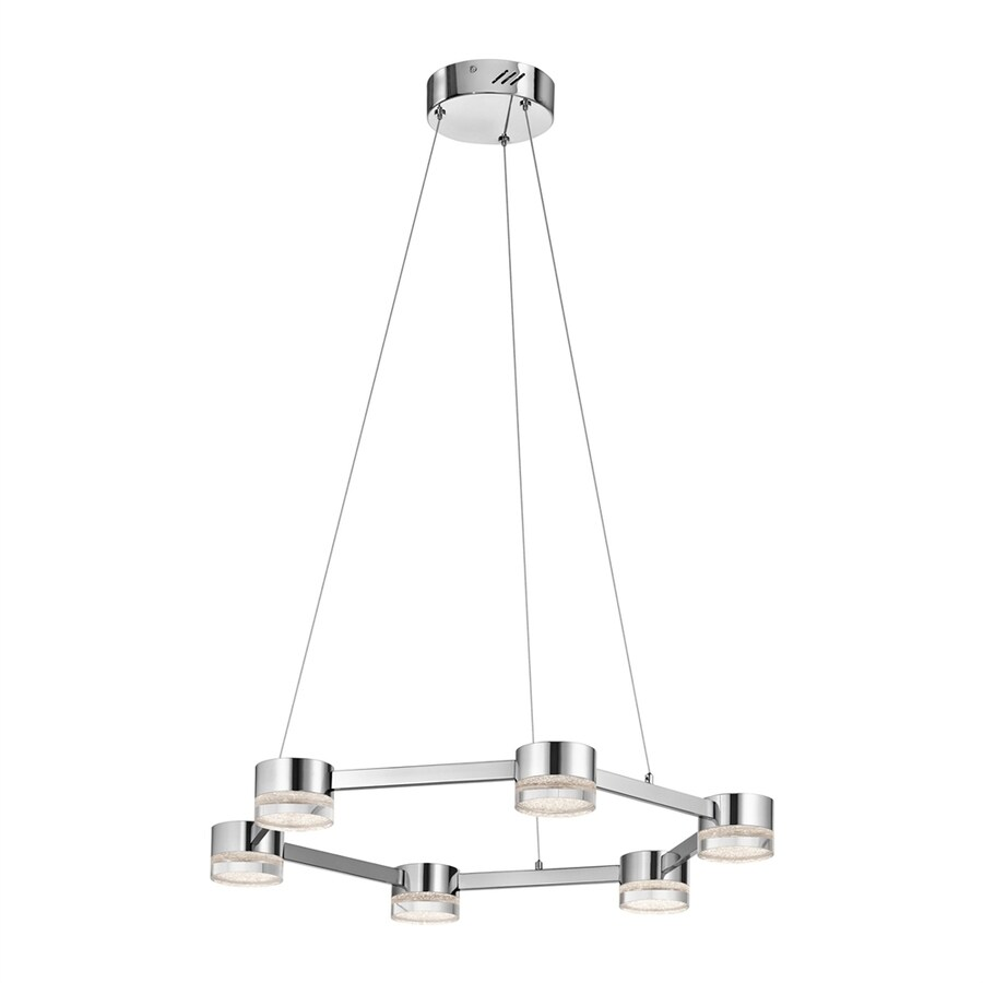 Elan Avenza 25.98-in Chrome Hardwired Single Clear Glass Geometric Pendant