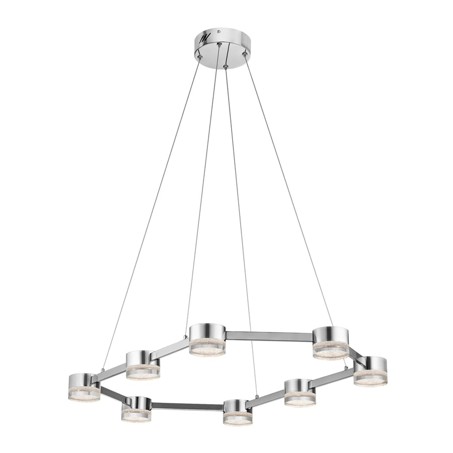 Elan Avenza 23-in Chrome Hardwired Single Clear Glass Geometric Pendant
