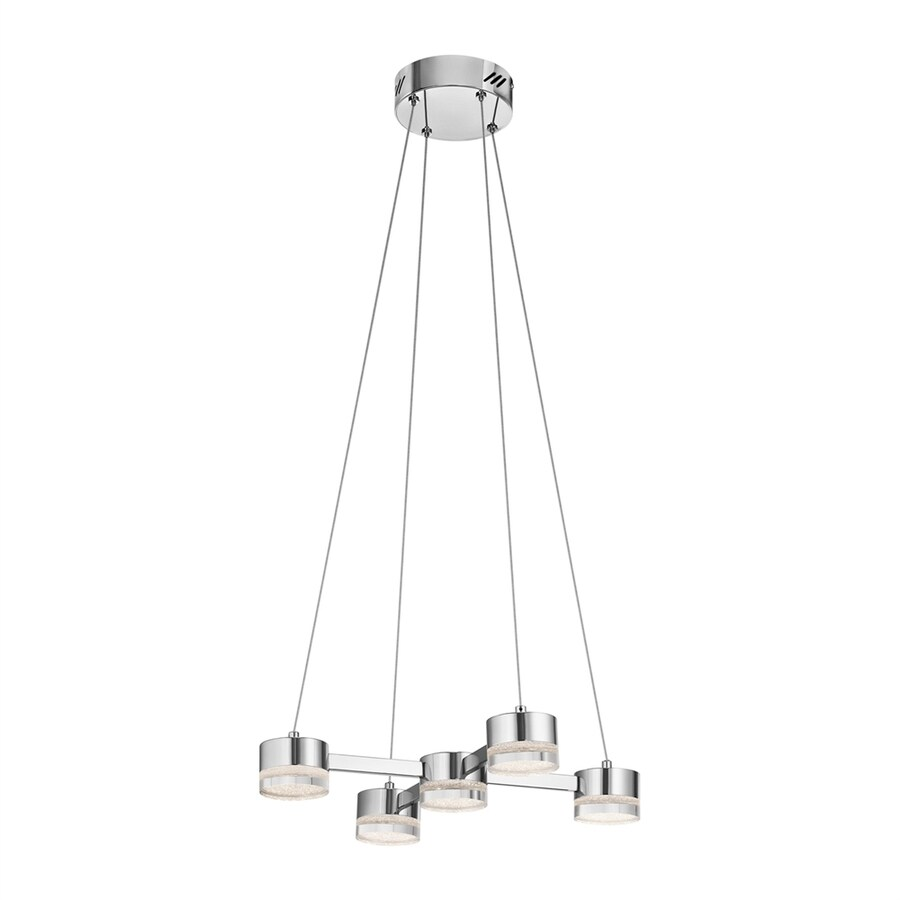 Elan Avenza 20-in Chrome Clear Glass Geometric LED Pendant