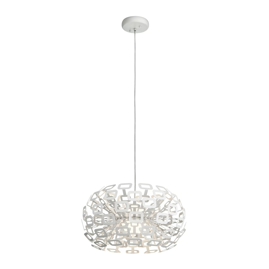 Elan Quillo 20-in White Hardwired Single Oval Pendant