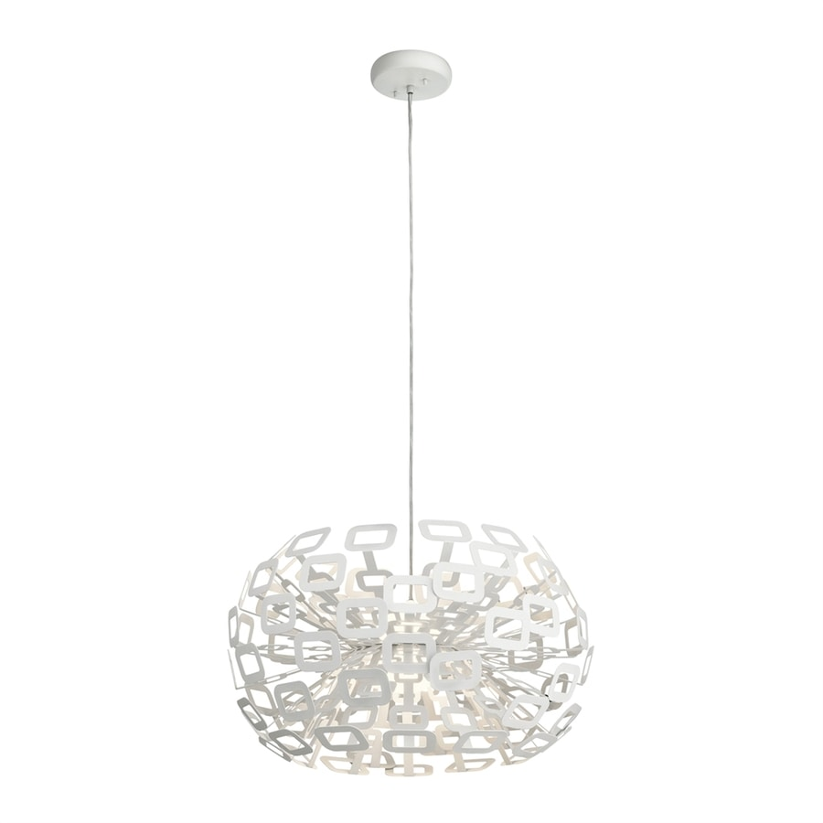 Elan Quillo 23.75-in White Hardwired Single Oval Pendant