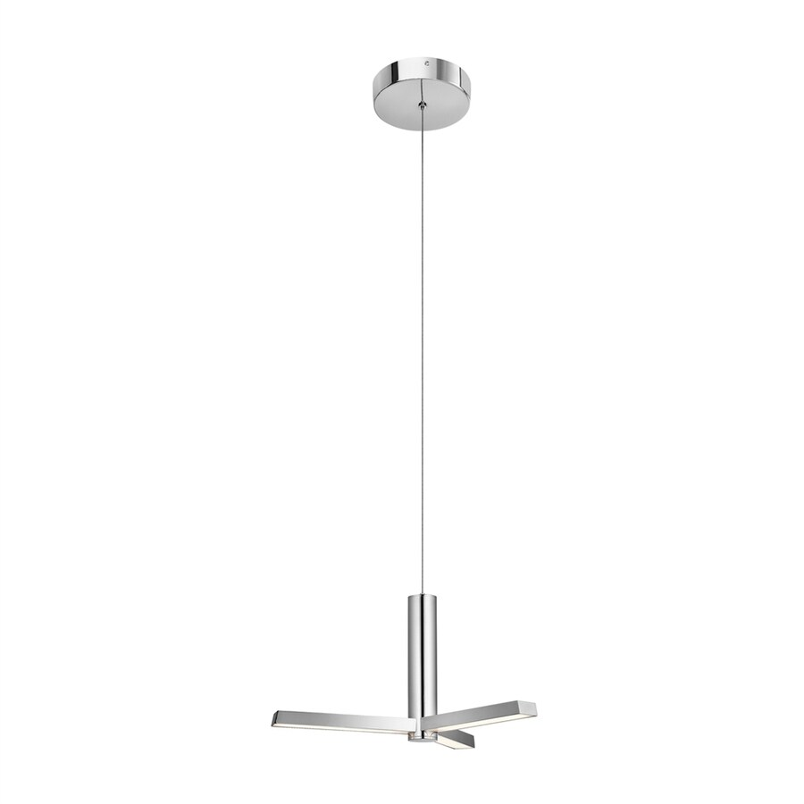 Elan Trivon 19.69-in Chrome Geometric LED Pendant