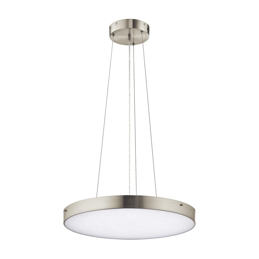 Elan Crystal Moon 24.02-in Brushed Nickel Drum LED Pendant